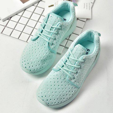Unique Mesh Breathable Athletic Shoes - 38 LIGHT GREEN Mobile
