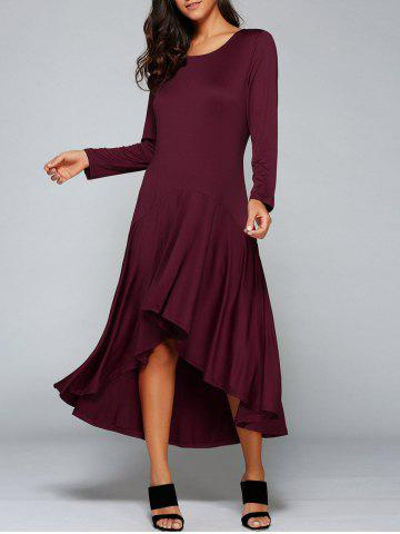 High Low Long Sleeve Maxi Prom Dress - Wine Red - M