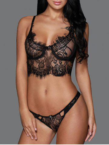Outfit Transparent Balconet Push Up Mesh Lace Underwire Bra Set