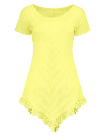 Laced Ribbed Longline T Shirt - Yellow - L