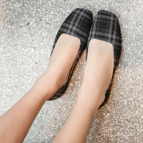 Outfits Plaid Square Toe Flat Shoes - 37 BLACK GREY Mobile