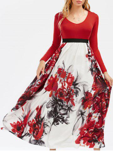 Outfits Full Sleeve Floral Empire Waist A Line Maxi Dress COLORMIX S