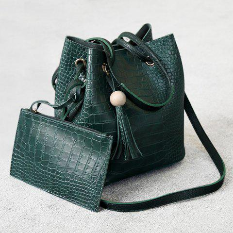 Crocodile Pattern Pouch Bag and Bucket Bag - Green