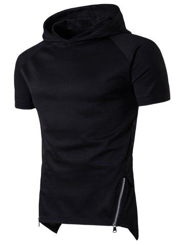Fancy Side Zip Up Longline Short Raglan Sleeve Hoodie - L BLACK Mobile