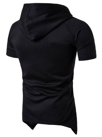 Trendy Side Zip Up Longline Short Raglan Sleeve Hoodie - L BLACK Mobile