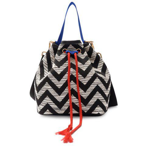 Cheap Chevron Stripe Cross Body Bucket Bag BLACK