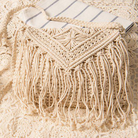 Best Crochet Fringed Cross Body Bag WHITE