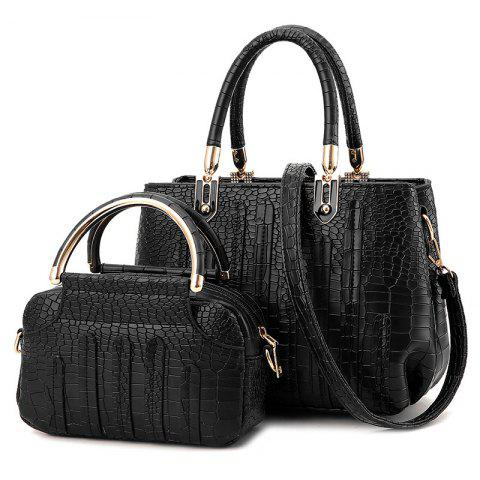 Buy Crocodile Pattern 2 Pieces Handbag Set - BLACK  Mobile