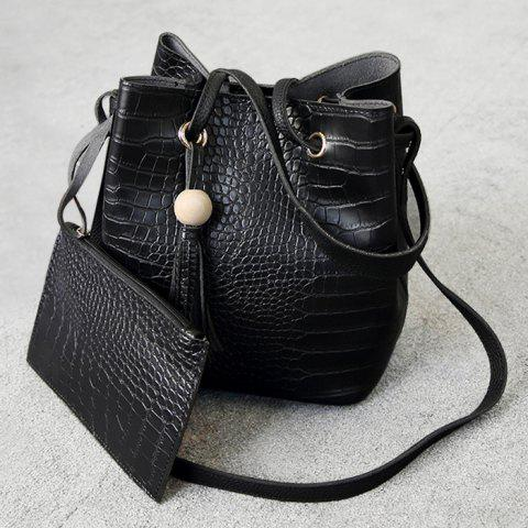 Crocodile Pattern Pouch Bag and Bucket Bag - Black