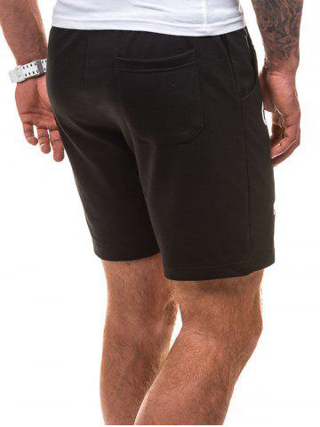 New Drawstring Letter Graphic Running Sweat Shorts - L BLACK Mobile