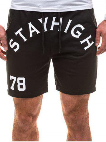 Online Drawstring Letter Graphic Running Sweat Shorts - L BLACK Mobile