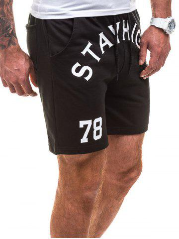 Affordable Drawstring Letter Graphic Running Sweat Shorts - L BLACK Mobile