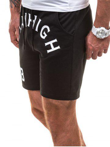 Latest Drawstring Letter Graphic Running Sweat Shorts - L BLACK Mobile