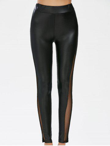 Store Mesh Panel Faux Leather Leggings - M BLACK Mobile