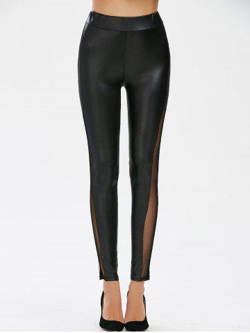 Shop Mesh Panel Faux Leather Leggings - M BLACK Mobile