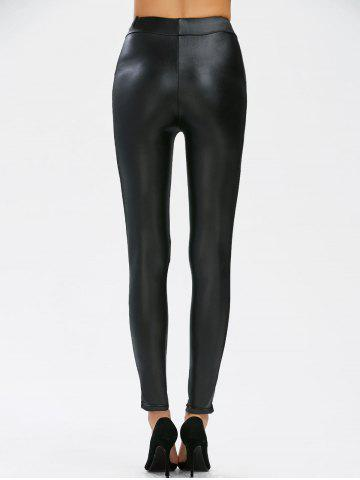 Unique Mesh Panel Faux Leather Leggings - M BLACK Mobile