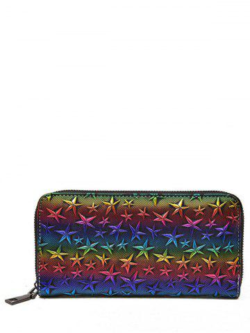 Affordable Star Embossing Clutch Wallet COLORMIX