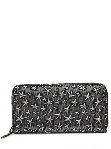 Unique Star Embossing Clutch Wallet - SILVER  Mobile