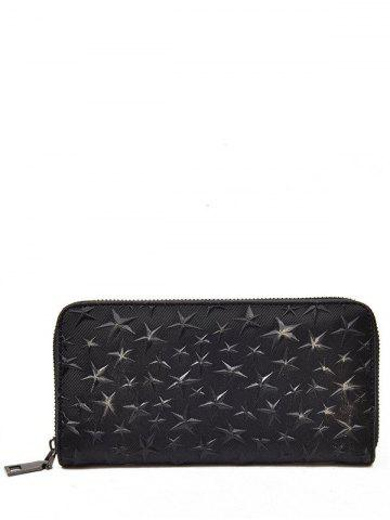 Star Embossing Clutch Wallet Noir