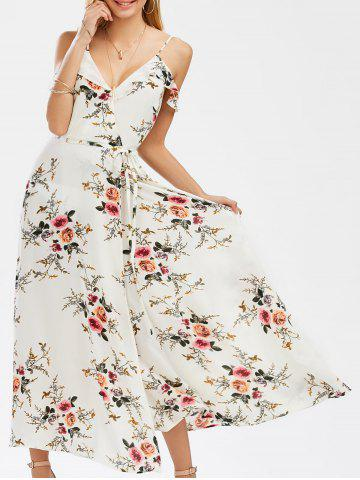 Trendy Low Cut A Line Dew Shoulder High Slit Tiny Floral Dress