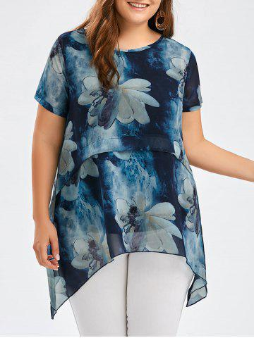 Affordable Flower Ink Painting Chiffon Plus Size Asymmetric Tunic Top