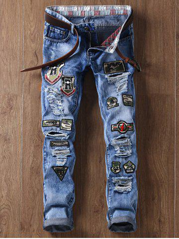 Fancy Camouflage Appliques Straight Leg Distressed Jeans - 36 BLUE Mobile