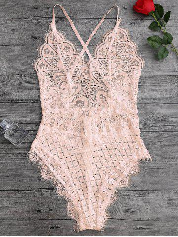 Online Scaolloped Eyelash Sheer Lace Teddy Bodysuit