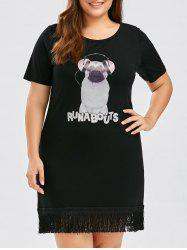 Plus Size Puppy Print Fringe Tee Dress
