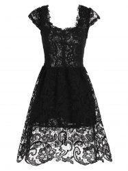 Lace Short Skater Homecoming Formal Dress - BLACK
