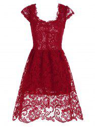 Lace Short Skater Homecoming Formal Dress - RED