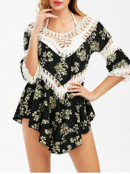 Floral Flounce Cover-Up with Crochet Panel