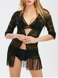 Lace Sheer Fringe Cover-Up