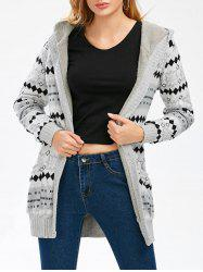 Hooded Button Up Geometric Cardigan - GRAY