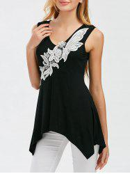 Appliqued Sleeveless T-Shirt