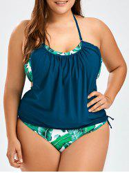 Plus Size Tropical Halter Tankini Set - PURPLISH BLUE