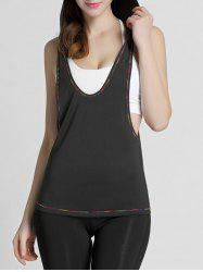 Hooded Long Workout Gym Tank Top - BLACK