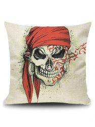 Pirate Skull Linen Throw Pillow Case