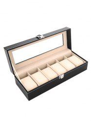 6 Gids Leather Watches Case Jewelry Dispay Box Organized Storage - BLACK