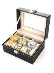 Collection Classic 3 Grids Leather Watch Case Plastic Top Display Box