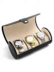3 Gids Single Buckle Cylinder Leather Watch Travel Case Jewelry Storage Box