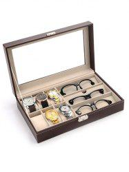 9 Grids Collection Classic Leather Watch and Glasses Case Display Box -