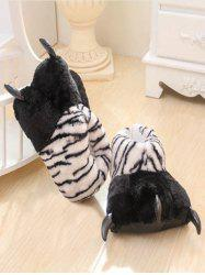 Tiger Stripes Leopard Print Bear Claw Plush Heel Cover Couples Slippers