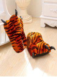 Tiger Stripes Leopard Print Bear Claw Peluche Talon Cover Couples Slippers -