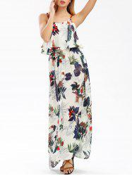 Long Printed Boho Slip Beach Dress - WHITE