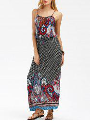 Elastic Waist Printed Boho Slip Dress