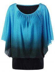 Ombre Butterfly Sleeve Plus Size T-Shirt -