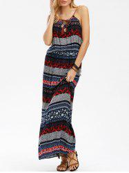 Popover Print Boho Long Slip Dress