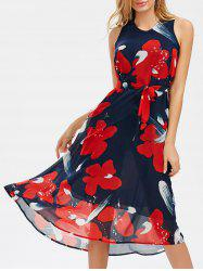 V Neck Belted Printed Chiffon Dress