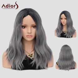 Adiors Long Center Part Ombre Beach Waves Synthetic Wig - GRAY