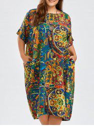 Funny Pattern Plus Size Cocoon Dress with Pockets